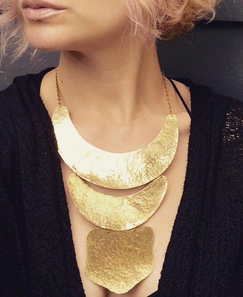 Large Boho Chic Gypsy Statement Hammered Golden Crescent Brass Bib Necklace | Statement Necklace | Gold Necklace | Tribal | Large Necklace