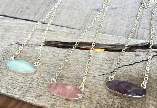 Elegant Amazonite Rose Quartz Amethyst Faceted Oval Pendant Necklace | Amazonite Necklace | Amethyst Necklace | Rose Quartz Necklace