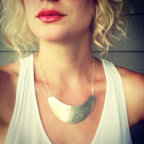 Elegant Boho Chic Gypsy Statement Hammered Sterling Silver Crescent Bib Necklace |Crescent Necklace | Silver Necklace | Tribal | Half Moon