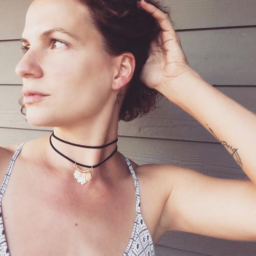 Edgy Black Leather and Gold Fringe Pendant Boho Chic Rocker Choker Necklace