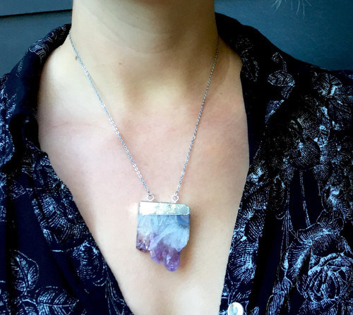Large Purple Amethyst Druzy Slice Crystal Point Boho Chic Silver Plated Edgy Statement Necklace