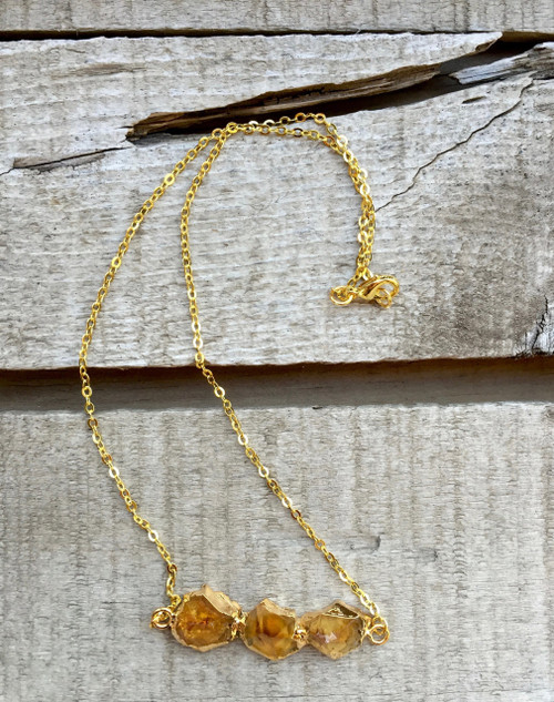 Horizontal Rough Crystal Point Golden Yellow Citrine Gold Plated Necklace