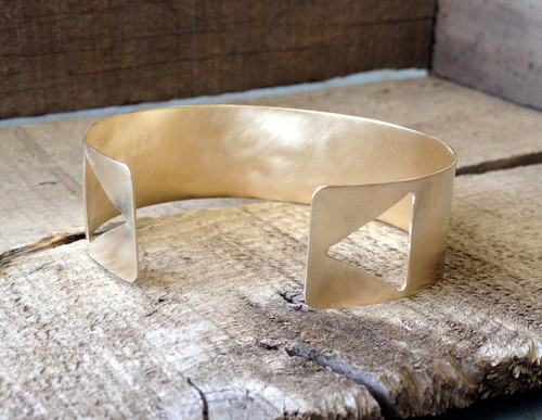 Double Triangle Golden Matte Brass Textured Cuff Bracelet