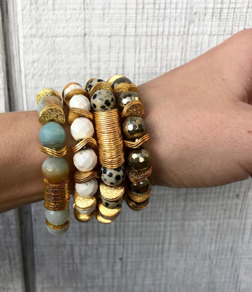 Faceted Gemstone Gold Ruffle Washer Chunky Bracelet | Amazonite Bracelet | Turquoise Bracelet | Pyrite Bracelet | Dalmatian Jasper Bracelet