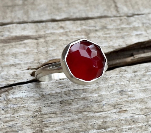 Elegant Minimalist Blood Red Faceted Carnelian Geometric Sterling Silver Ring of Grounding | Carnelian Ring | July Birthstone Ring | Edgy