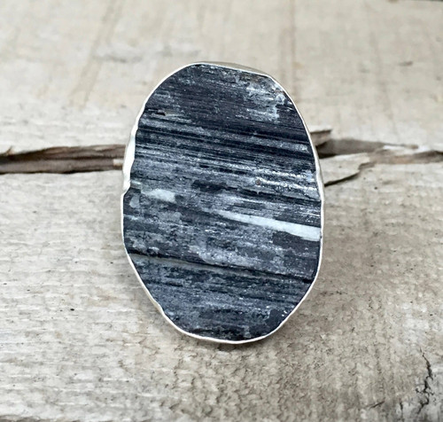 Edgy Rough Cut Large Square Black Tourmaline Sterling Silver Statement Ring | Rocker | Black Gemstone Ring | Silver Ring | Unique Ring