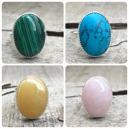 Edgy Minimalist Yellow Jade Rose Quartz Blue Howlite or Malachite Serrated Bezel Boho Chic Silver Ring