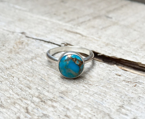 Elegant Boho Chic Blue Copper Turquoise Solitaire Sterling Silver Ring | Turquoise Ring | Copper and Blue Silver Ring | Boho | Gypsy