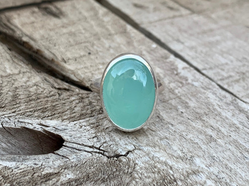 Astrological Aqua Chalcedony Oval Cabochon Sterling Silver Solitaire Statement Ring | Boho | Chalcedony Ring | Gifts for Her | Silver Ring