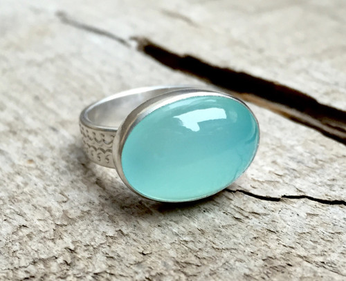 Astrological Aqua Chalcedony Oval Cabochon Ring with Pattern Sterling Silver Band | Chalcedony Ring | Birthstone Ring | Gifts for Her