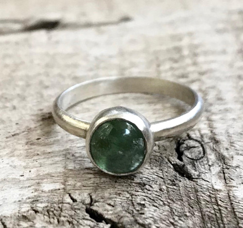Elegant Small Round Tourmaline Sterling Silver Solitaire Ring | Tourmaline Ring | Engagement Ring | Promise Ring | Wedding Ring
