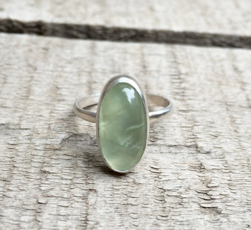 Elegant Solitaire Luminescent Apple Green Prehnite Oval Ring in Sterling Silver