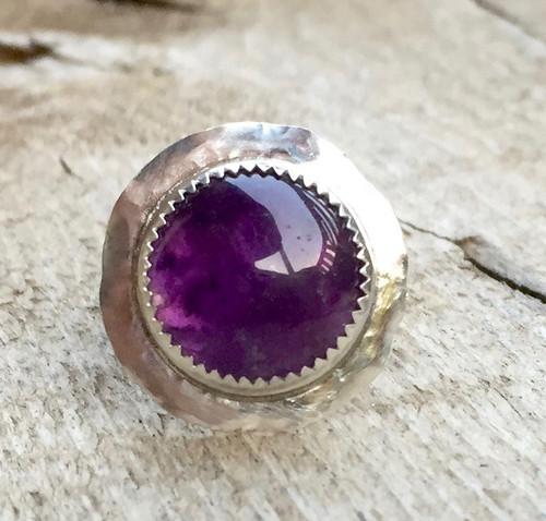 Unique Elegant Hammered Round Purple Amethyst Sterling Silver Ring