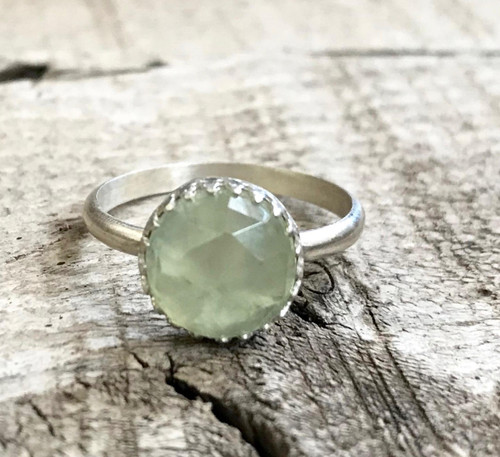 Elegant Apple Green Faceted Prehnite with Crown Setting Sterling Silver Ring | Choose Your Stone | Chalcedony Ring | Moonstone Ring | Gift