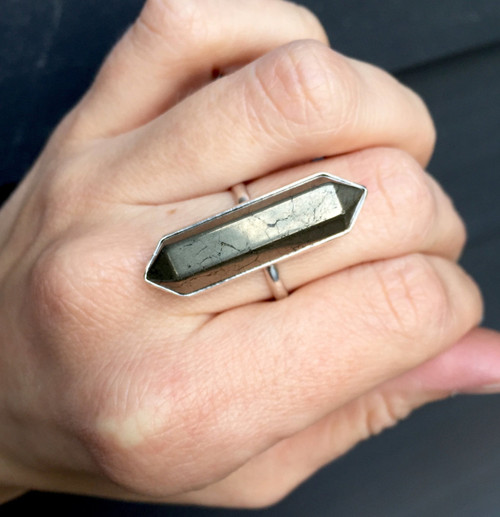 Unisex Boho Rocker Hexagon Gold Pyrite Wand Double Terminated Point Ring   Pyrite Ring   Fools Gold Ring   Geometric Ring   Boho   Rocker