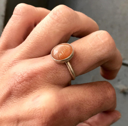 Elegant Orange Sparkly Golden Oval Sunstone Sterling Silver Ring | Boho | Sunstone Ring | Gifts for Her