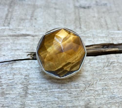 Elegant Octagon Brown Gold Tiger Eye Geometric Statement Ring