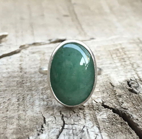 Elegant Oval Emerald Green Aventurine Statement Ring in Sterling Silver | Green Gemstone Ring | Silver Ring | Solitaire Ring