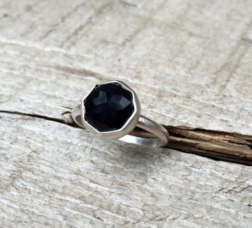 Elegant Modern Cube Cut Geometric Black Onyx Octagon Sterling Silver Ring   Onyx Ring   Rocker   Edgy   Goth