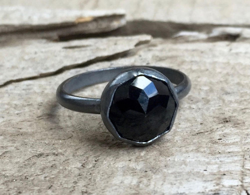 Elegant Modern Cube Cut Geometric Black Onyx Octagon Patina or Dark Oxidized Sterling Silver Ring | Boho | Rocker | Gunmetal Onyx Ring