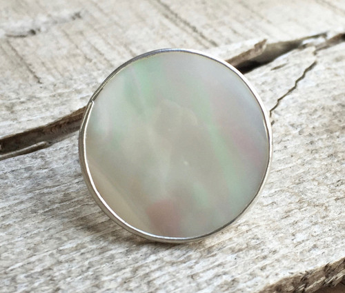 Boho Chic Large Round White Mother of Pearl Statement Ring in Sterling Silver