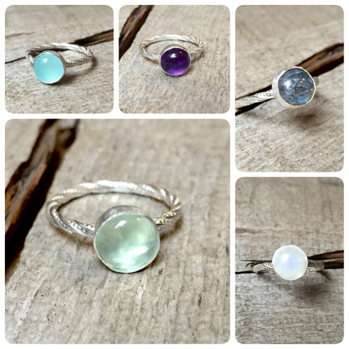 Chalcedony Solitaire Ring | Amethyst Solitaire Ring | Labradorite Solitaire Ring | Prehnite Solitaire Ring | Moonstone Ring | Engagement