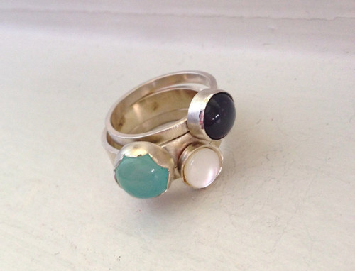 Purple Moonstone Aqua Chalcedony White Mother of Pearl Sterling Silver Stacking Ring | Solitaire Ring | Three Rings | Rocker | Boho