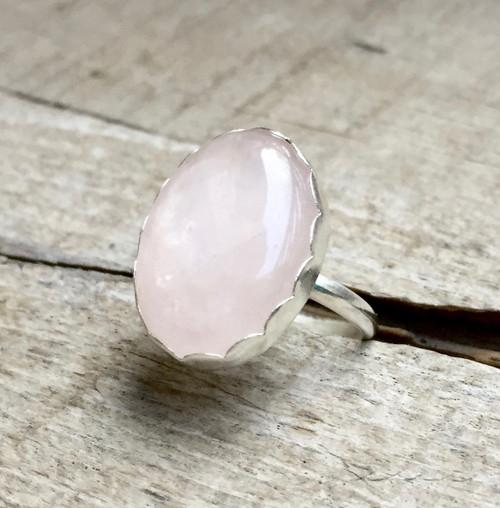 Romantic Rose Quartz Scallop Bezel Silver Ring | Aventurine Ring | Amethyst Ring | Sandstone Ring | Ruby Zoisite Ring |Snowflake Jasper Ring