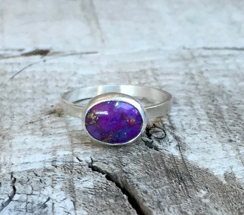 Elegant Boho Chic Horizontal Setting Purple Copper Turquoise Sterling Silver Ring