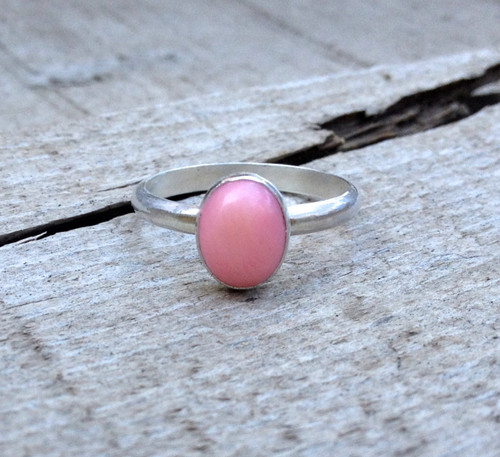 Elegant Minimalist Blush Pink Coral Oval Sterling Silver Ring