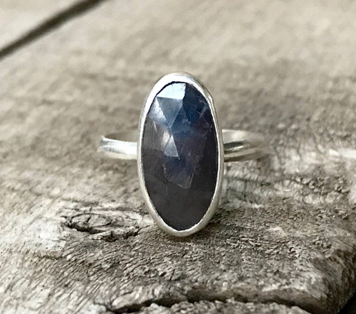 Dark Blue Faceted Oval Sapphire Sterling Silver Statement Ring | Sapphire Ring | September Birthstone Ring | Engagement Ring
