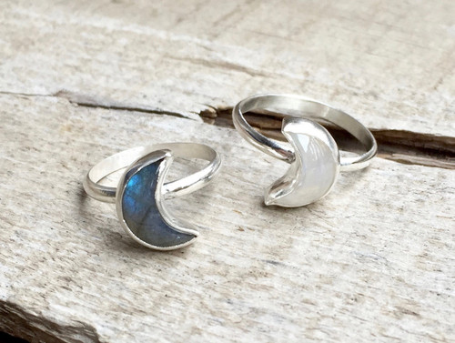 Elegant Boho Chic Half Moon Crescent Labradorite or Moonstone Sterling Silver Ring | Moon Ring | Moonstone Ring | Labradorite Ring | Witchy