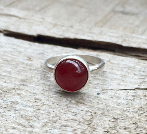 Elegant Blood Red Carnelian Solitaire Sterling Silver Ring | Dark Patina or Oxidized Sterling Silver Carnelian Ring | July Birthstone Ring
