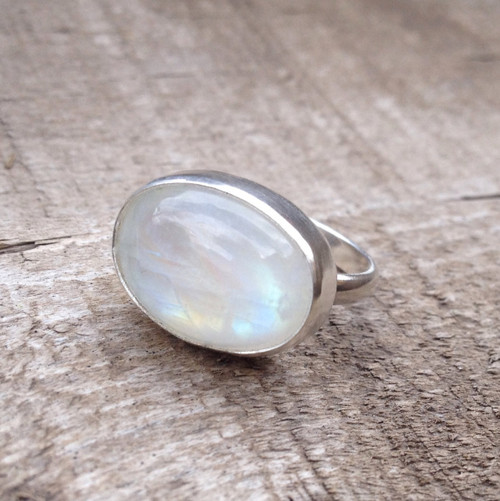 Elegant Horizontal Large Oval White Rainbow Moonstone Sterling Silver Statement Ring | June Birthstone Ring | Moonstone Ring