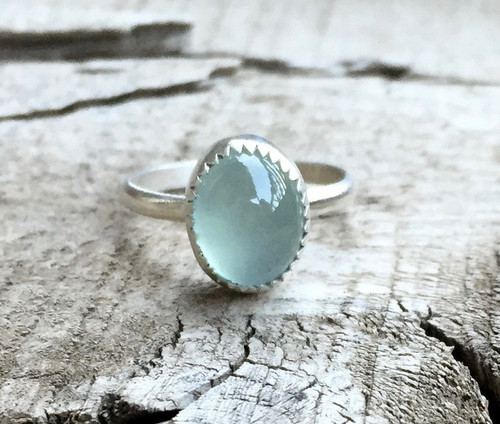 Elegant Aqua Blue Green Oval Chalcedony in Serrated Setting Sterling Silver Ring
