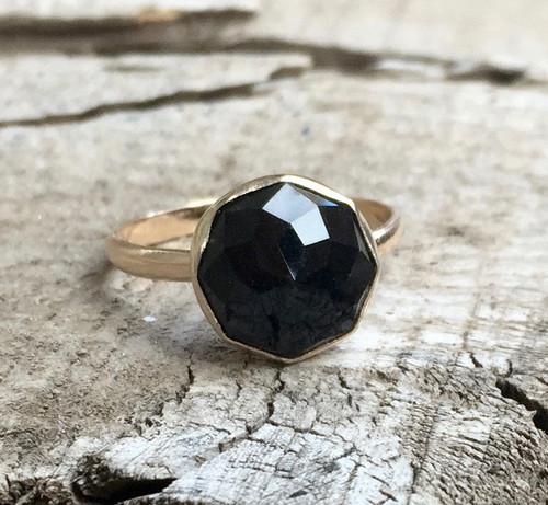 Elegant Cube Cut Geometric Black Onyx 14 Karat Gold Ring | Onyx Gold Ring | Labradorite Ring | Carnelian Ring | Lapis Ring | Gold Ring