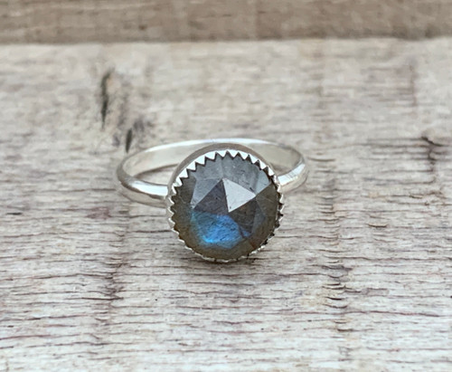 Faceted Flashy Labradorite Round Ring of Protection in Sterling Silver with Serrated Setting | Boho | Rocker | Energy Stone Ring