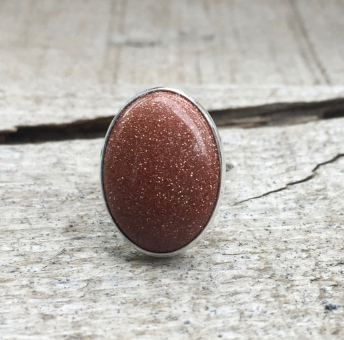 Elegant Minimalist Golden Goldstone Oval Ring in Sterling Silver