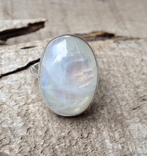 Elegant Large Oval White Rainbow Moonstone Sterling Silver Statement Ring | June Birthstone Ring | Flashy Moonstone Ring | Silver Ring