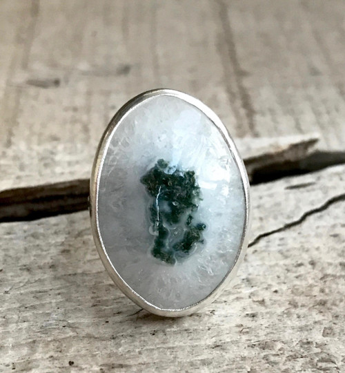 Stunning Large Oval White Crystal Solar Quartz Sterling Silver Statement Ring | Quartz Ring | Gifts for Her | Boho | Rocker | Healing Ring