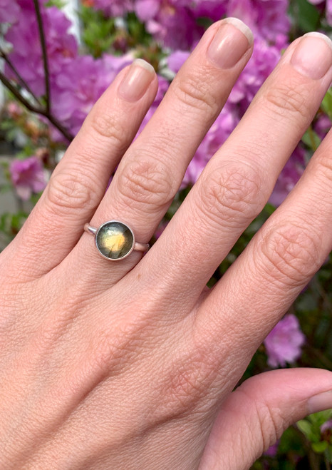 Stunning Round Flashy Labradorite Sterling Silver Ring | Energy Ring | Protection Stone Ring