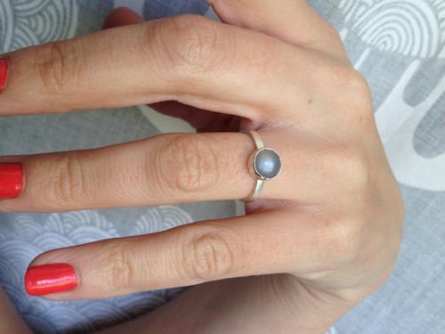 Elegant Purple Gray Moonstone Sterling Silver Solitaire Ring | Birthstone Ring | Solitaire Ring | Moonstone Ring | June Birthday