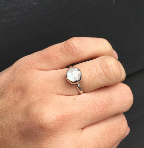 White Luminescent Moonstone or Blue Labradorite in Scallop Bezel Sterling Silver Ring | Flower Ring | Moonstone Ring | Labradorite Ring