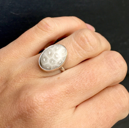 White and Grey Coral Fossil Ring | Sterling Silver Fossil Ring | Starburst Ring | Silver Ring | Unique Stone Ring | Boho | Rocker | Edgy