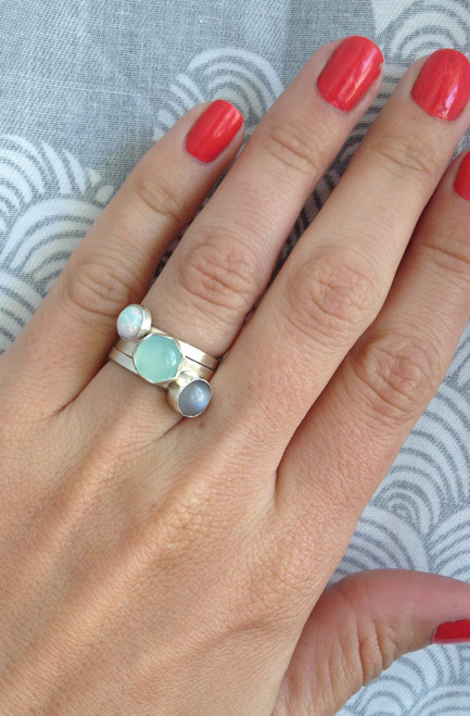 Stacked Ring with Purple Moonstone, Aqua Chalcedony, and White Simulated Opal and 3 Sterling Silver Bands.