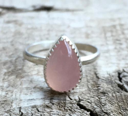 Romantic Light Pink Teardrop or Pear Shaped Serrated Setting Sterling Silver
