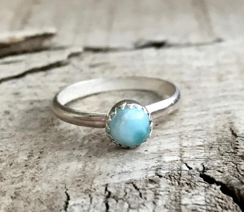 Sky Blue Larimar Sterling Silver Solitaire Ring with Serrated Setting | Minimalist | Engagement Ring | Harmonizing Ring | Blue Gemstone Ring