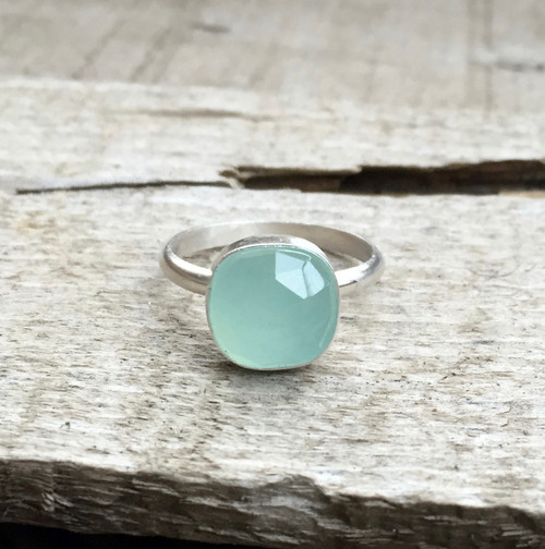 Romantic Cushion Cut Aqua Ocean Blue Chalcedony Boho Ring in Sterling Silver | Chalcedony Ring | Geometric Ring | Faceted Chalcedony Ring