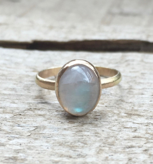 Minimalist Elegant Solitaire Oval Moonstone Birthstone Gold Ring in 14 Karat Gold