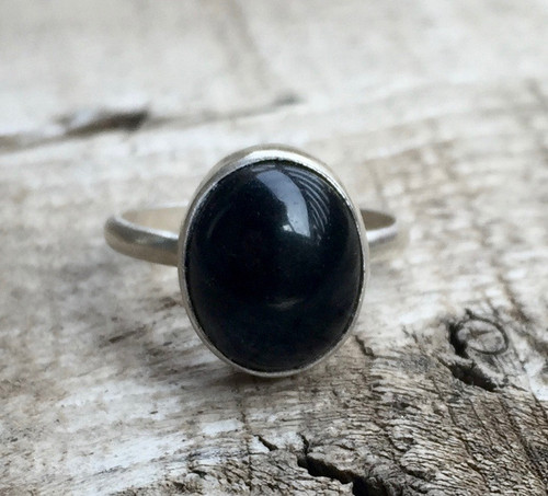 Minimalist Oval Black Onyx Sterling Silver Solitaire Ring | Silver Ring | Onyx Ring | Boho | Rocker | Simple Ring | Chic Ring